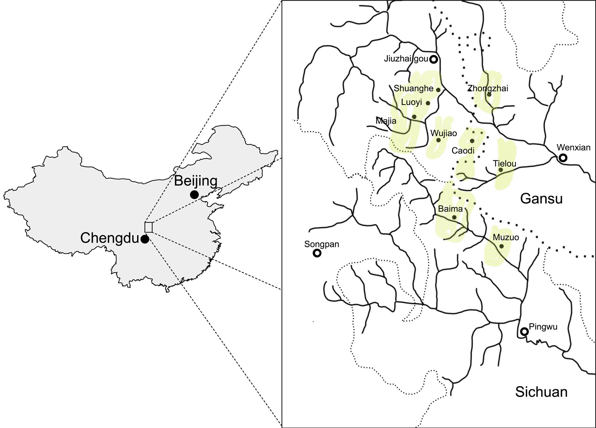 carte répartition langue baima