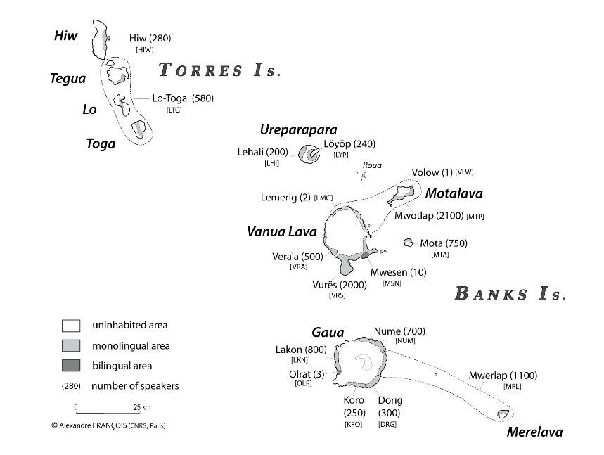 Carte des 17 langues parlées au nord du Vanuatu, A. François