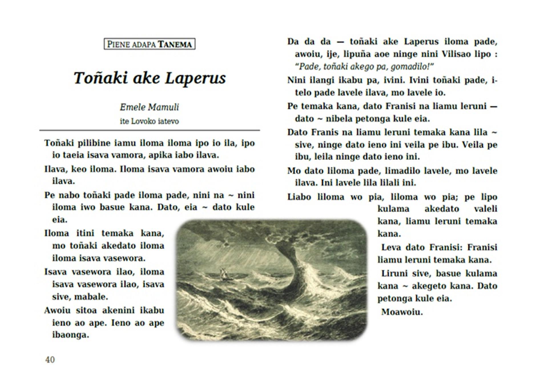 La légende de Lapérouse en langue tanema, racontée par Emele Mamuli. Extrait d'un recueil de récits publié par A. François à destination de la communauté de Vanikoro.