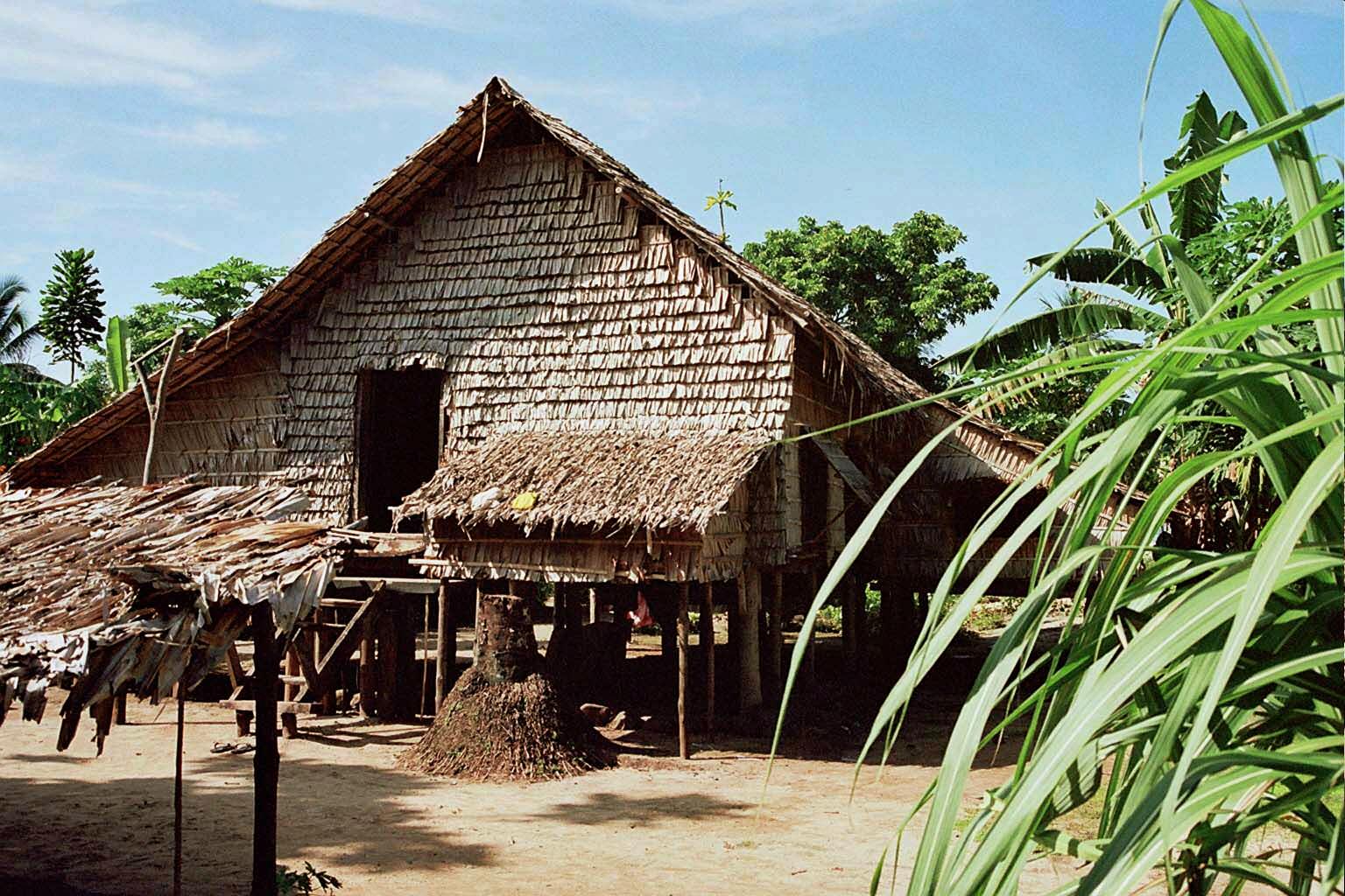 Les maisons de Vanikoro sont construites sur pilotis, et recouvertes de feuilles pour préserver la fraîcheur, 2012. Photo Alexandre François