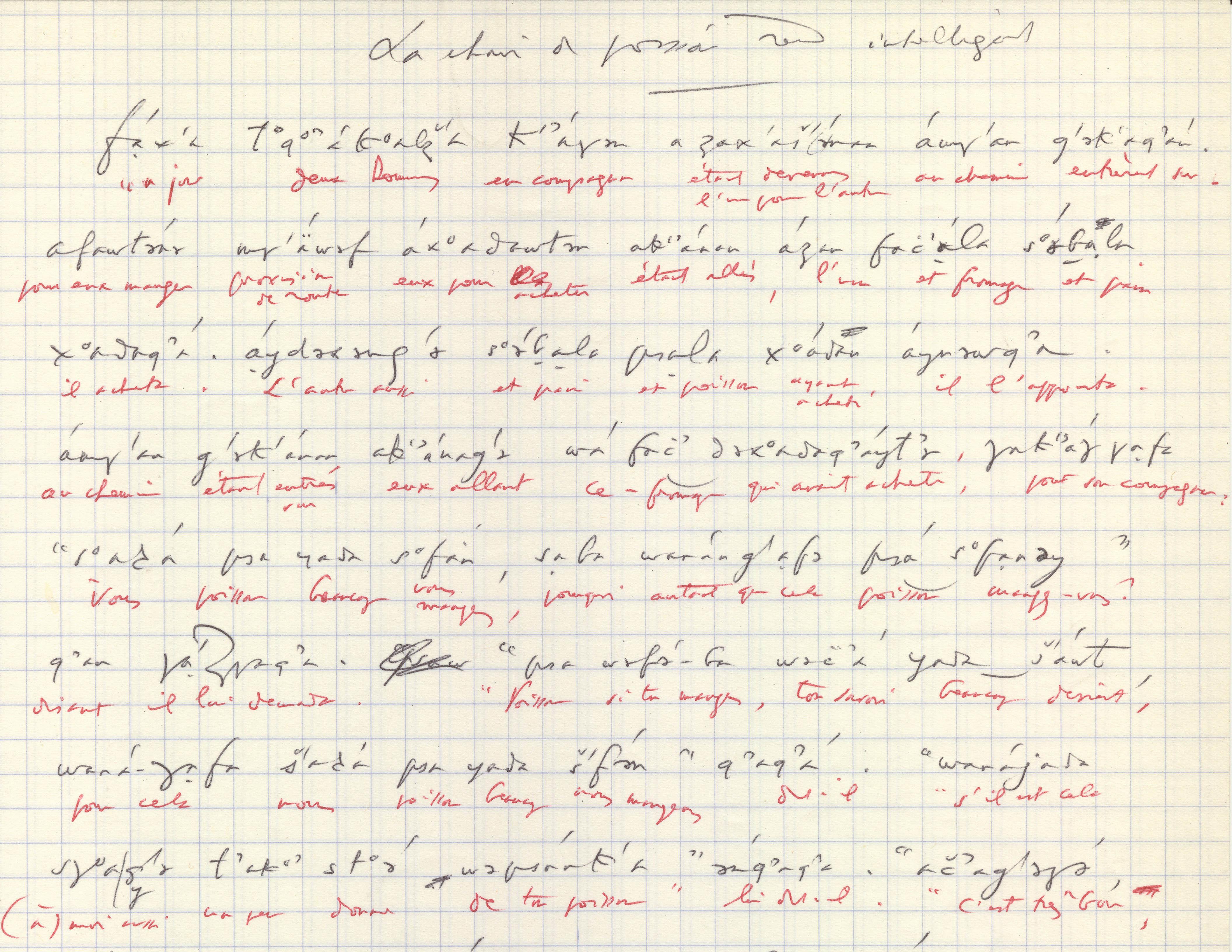 Transcription manuscrite, par Georges Dumézil, d'un récit oubykh raconté par Tevfik Esenç